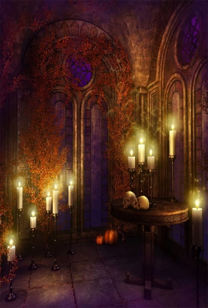4x6ft Gloomy Gothic Medieval Room Backdrop Scary Halloween Photography Background Horrible Retro Haunted House Interior Stone Wall Candle Stair Vampire Ghost Studio Props Vinyl Wallpaper