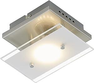 Briloner Leuchten 3596–012A +,–Lámpara LED de techo, lámpara de techo, lámpara de techo, 3W, 250lúmenes, vidrio satinado con borde, rectangular, metal, níquel mate, 15x 12x 9cm