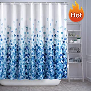 ARICHOMY Shower Curtain Set Bathroom Fabric Fall Curtains Waterproof Colorful Funny with Standard Size 72 by 72 (Blue)