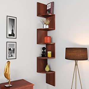 Nova Furniture Group 5 Tiers Floating Wall Mount Corner Shelf, Home Decor Display Shelves,Brown