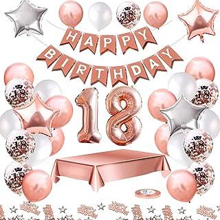 MMTX Ballons Anniversaires 18 ans Decoration Anniversaire kit, Or Rose Anniversaire Décorations pour Filles, Happy Birthda...