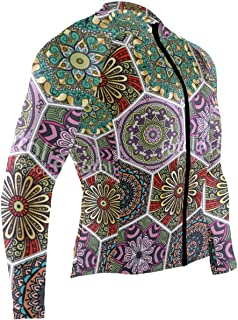 Hexagonal Boho Style Colorful Floral Mens Cycling Jersey Coat Long Sleeve Outdoor Biking Clothing Outfit