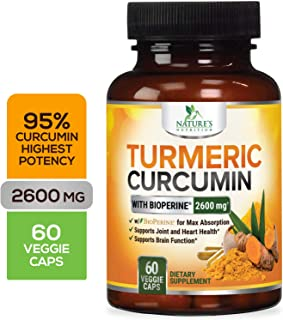 Turmeric Curcumin Highest Potency 95% Curcuminoids 2600mg with Bioperine Black Pepper for Best Absorption, Made in USA, Best Vegan Joint Pain Relief, Nature's Nutrition Turmeric Pills - 60 Capsules