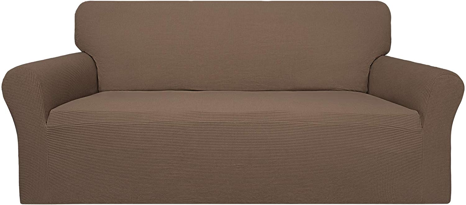 Easy-Going 100% Waterproof Couch Cover, Dual Waterproof Sofa Cover, Stretch Jacquard Sofa Slipcover, Leakproof Furniture Protector for Kids, Pets, Dog and Cat (Sofa, Brown)