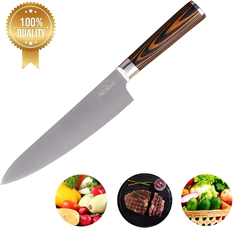 Chef Knife Kealive Professional 9 Inch Chef S Kitchen Knife Ultra Sharp Blade Made Of High Carbon Stainless Steel Wooden Ergonomic Handle