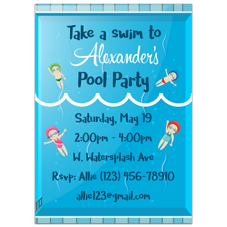 Swimming in Pool Invitations favorite Birthday