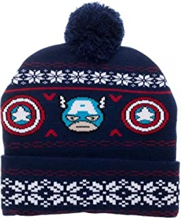 2ba659a9 Marvel Comics Captain America Knit Winter Cuff Pom Beanie Adult Hat Licensed
