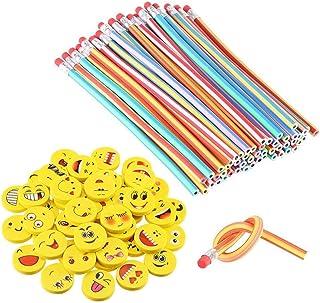 LATERN 80 Stks Kids Party Bag Filler Set, 40 Stks Zachte Flexibele Buigpotlood Potloden, 40 Stks Emoji Smile Erasers, Magi...