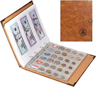 Leather Coin Collection Book Holder with 172 Pockets - Large Storage Coin Collection Supplies Album with 240 Pockets Paper...