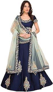 8ab32bc7d6 Mert India Dark Blue Banglori Silk Embroidered Semi stitched Lehenga Choli  with Dupatta