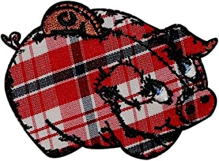 Fuzzy Dude Plaid Piggy Bank Patch Penny Saving Storage Farm Embroidered Iron On Applique