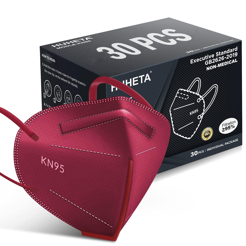 HUHETA KN95 Face Mask 30 Breat Wrapped quality assurance Individually Las Vegas Mall 5-Ply Pack