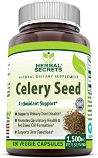 Herbal Secrets Celery Seed Extract 1500 mg Per Serving 120 Veggie Capsules - Non GMO, Gluten-Free