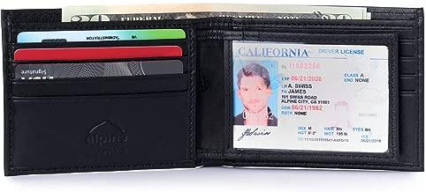 Alpine Swiss Mens RFID Blocking Leather Multi Card High Capacity Bifold Wallet