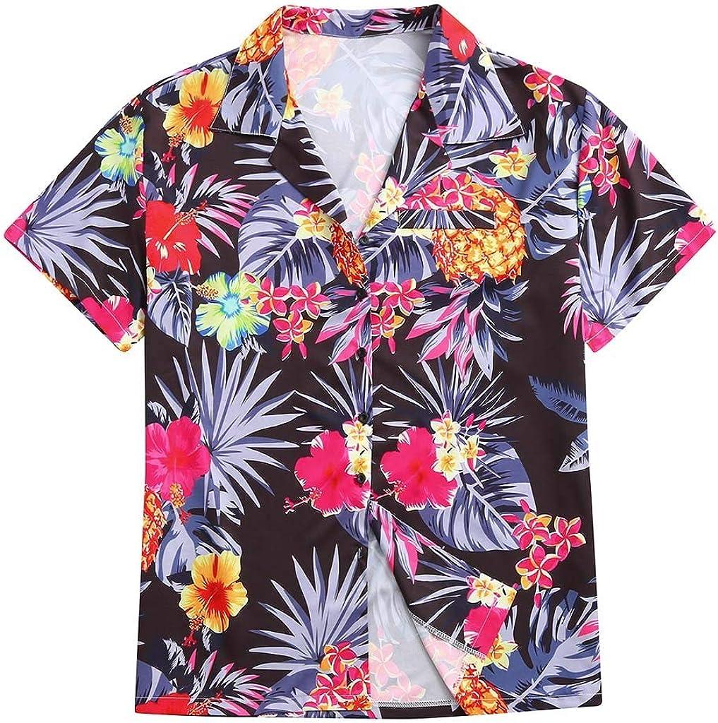 Swyss Mens Ethnic Style Hawaiian Shirt Floral Print Short Sleeve Casual Loose Button Down Shirts Tops (5XL, Black)