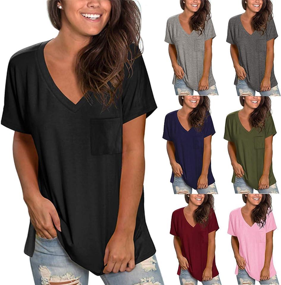 Damen Sommer Tops Casual V-Ausschnitt und Farbverlauf Shirt Hemd Bluse Female Teenager Mädchen Tshirt Loose Oversize Shirt Oberteile Tunika Lose Oberteil Bluse Tops