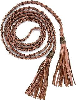 Ayliss Women Tassel Braided Waist Belt Skinny Woven Belt for Dress