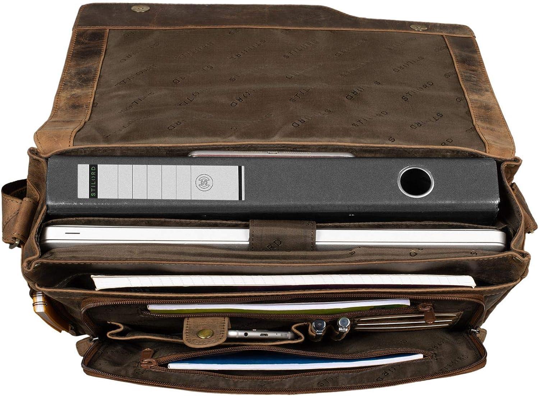 STILORD Marlon Ledertasche Herren Business Uni B/üro Vintage Umh/ängetasche gro/ß DIN A4 mit 15.6 Zoll Laptopfach Elegante Aktentasche aus echtem Rinds Leder