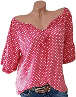 S-Fly Womens Long Sleeve Loose V Neck Polka Dot Casual Shirt Top Blouse