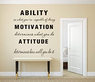 MAFENT Ability is What You're Capable of Doing Motivation Attitude Family Wall Decal Inspirational Phrase Vinyl Quote Lettering Wall Sticker Decor (Small)