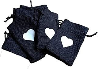 Desi Rang Black Jute Bags for Return Gifts Potli Pouches Burlap Shagun Occasion Festivals 6 x 4 inch (Pack of 20) Storage ...