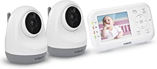 """VTech VM3261-2 2.8"""" Digital Video Baby Monitor with 2 Pan & Tilt Cameras, Full Color and Automatic Night Vision, White"""