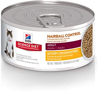 Hills Science Diet Wet Cat Food, Adult, Hairball Control, Savory Chicken Recipe,