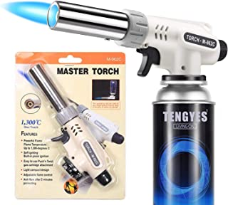 Kitchen Butane Blow Torch Lighter - Culinary Torch Chef Cooking Torches Professional Adjustable Flame with Reverse Use for...