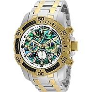 Invicta Men's Pro Diver Scuba Quartz Chronograph Carbon Fiber Bezel Abalone Dial Bracelet Watch,...