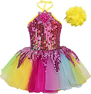 inlzdz Kids Girls Hip-Hop Jazz Latin Dance Dress Rainbow Sequins with Wristband Street Stage Performance Costume