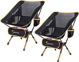 Sportneer Campingstoel, 2-delige set, draagbaar, licht, opvouwbaar, tot 150 kg, voor backpacking/wandelen, picknick/vissen