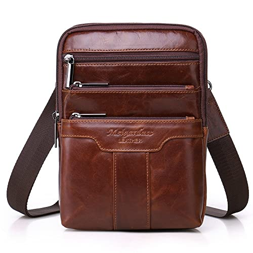 414997bb2e Langzu Men's Genuine Leather Cowhide Vintage Messenger Bag Shoulder Bag  Crossbody Bag