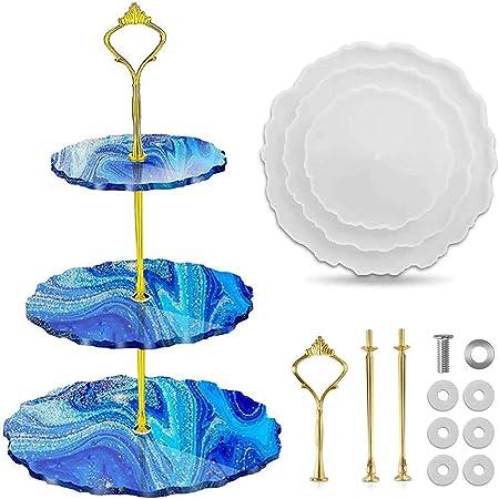 organizador de joyas soporte para pendientes expositor de joyas moldes de silicona para manualidades Keyzone Juego de 4 estantes de resina epoxi