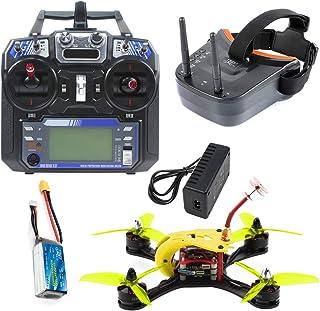 FEICHAO T180 4 Pulgadas FPV Racing Drone Cámara HD Baby Turtle 800TVL Betaflight F4 Pro V2 OSD sin escobillas 3S 2.4G 6CH RC Quadcopter RTF (with Battery and Goggle Yellow)