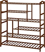 Ollieroo Bamboo Shoe Rack 6-Tier Entryway Shoe Shelf Storage Organizer Free Standing Shelves (Brown)