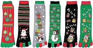 Calcetines de 5 Dedos de Navidad, Calcetín Media Algodón Casual Suave Cómodo con Estampado de Navidad Fiesta para Mujer Niños