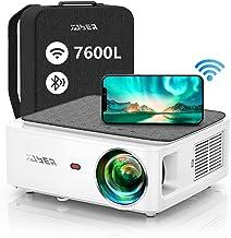 Proyector WiFi Bluetooth 1080P, YABER V6 7600 Lúmenes Proyector WiFi Full HD 1080P Nativo Soporta 4K, Ajuste Digital de 4 ...
