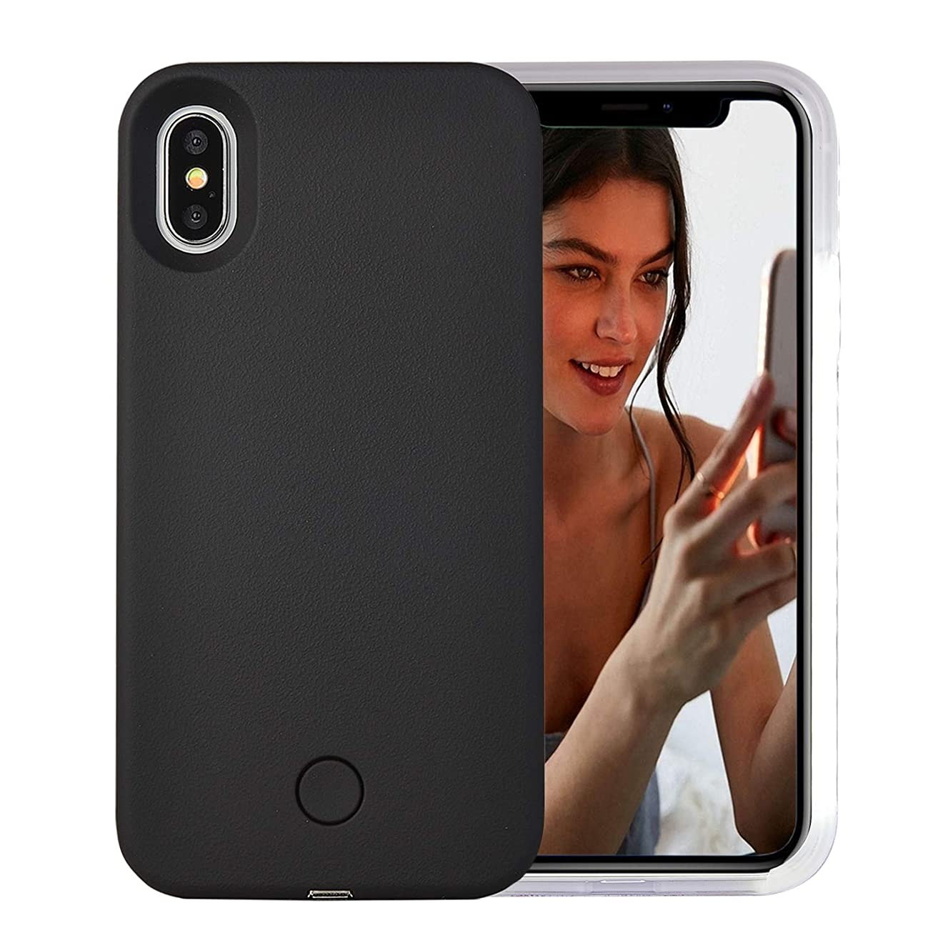 iPhone Xs Max Case, AUYOUWEI LED Illuminated Selfie Light Case Cover [Rechargeable] Light Up Luminous Selfie Flashlight Cell Phone Case for iPhone Xs Max 6.5inch (Black)