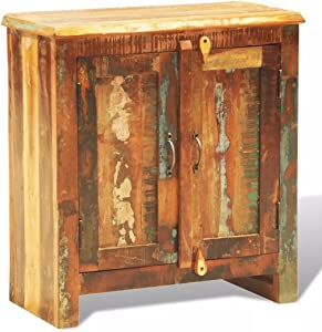 Tuduo Hängeschrank aus Recyclingholz mit 2 Türen im Vintage-Stil, robust, strapazierfähig, einzigartiges Design für Küche und Küchenschränke