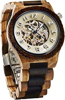 Wooden Watches for Men - Dover Series Skeleton Automatic/Wood Watch Band/Wood Bezel/Self Winding Movement - Includes Wood Watch Box