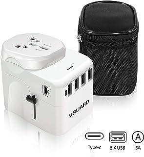 VGUARD reisadapter, type C+4 USB-poorten internationale universele stekker adapter met afneembare Europa (Schuko) stekker ...