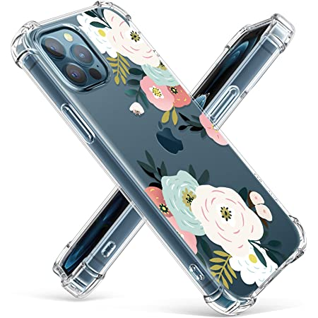 GVIEWIN Clear Floral Case Compatible with iPhone 12 and iPhone 12 Pro 6.1 Inch 2020, Soft & Flexible TPU Shockproof Cover Women Girls Flower Pattern Phone Case (Abundant Blossom/White)
