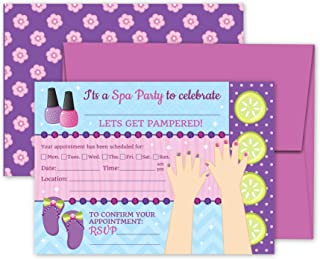 Deluxe Spa Salon Pampering Makeup Makeover Party Invitations- 20 Large Double Sided 5 x 7 Inch Invite Cards with Purple Envelopes