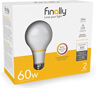 New Finally Light Bulb, 60 watt Equivalent, A19, Pack of 2 Light Bulbs, Long Lasting, Warm White, Non-LED, Energy Efficient, with Tesla Technology