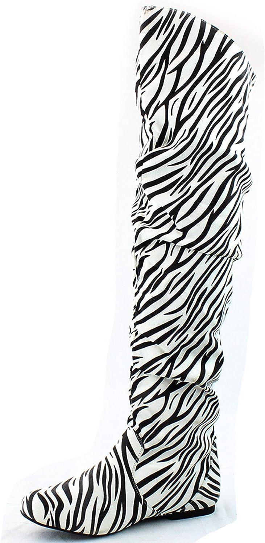 Dailyshoes Fashion-Hi Over the Knee Thigh High Boots, Zebra SV, 13 B(M) US