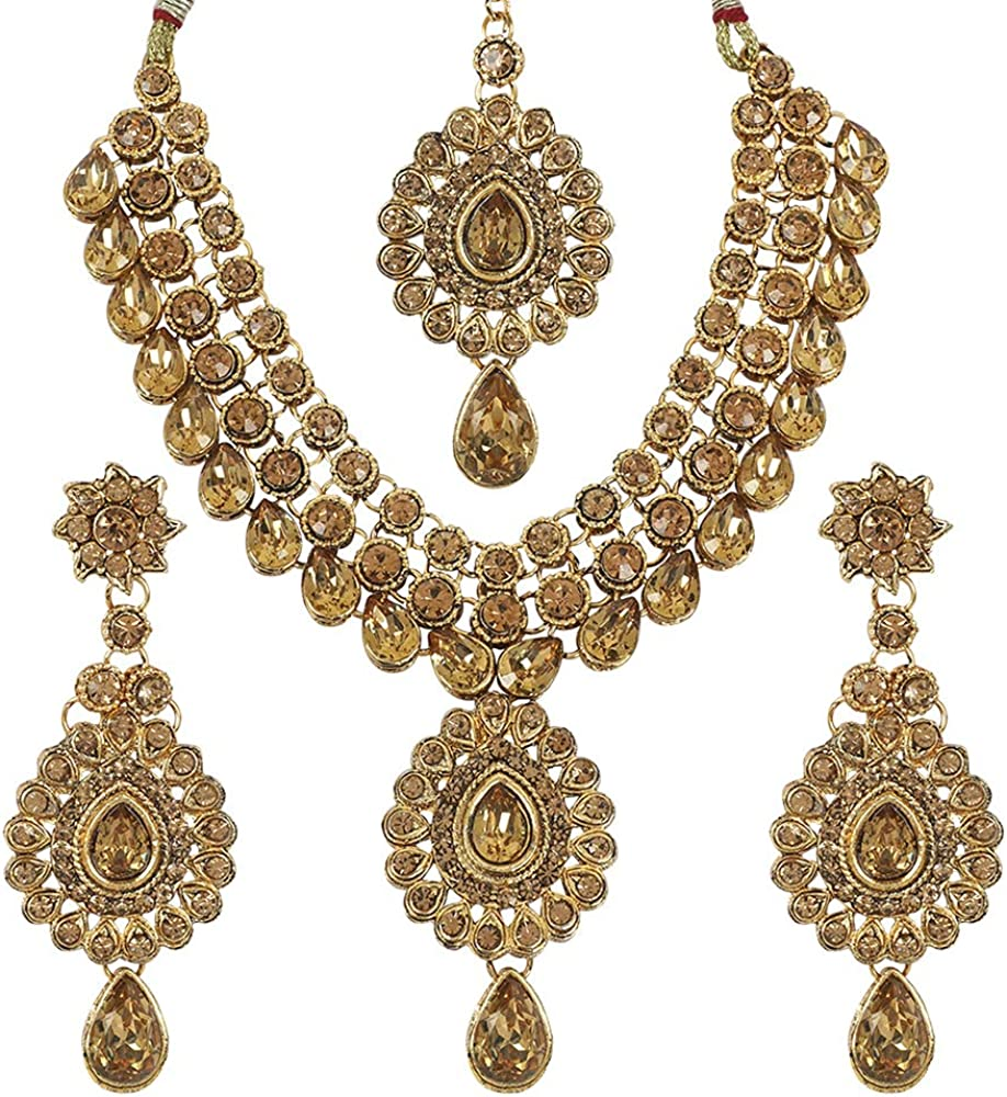 MUCH-MORE Traditional Bridal Unique Crystal Stone Floral Shape CZ Stone Indian Bollywood Necklace Set for Women