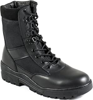 Nitehawk Army/Military Patrol Black Leather Combat Boots Outdoor Cadet Security, Sizes UK 3 - 13