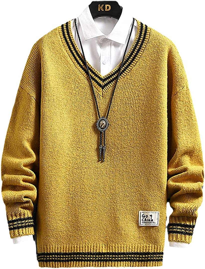 HONSILLENGS High Bombing new work order Men V-Neck Sweaters Thick Warm Homme Tre Casual Pull