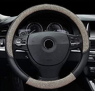 Auto Lenkradabdeckung Medium Litschi Muster Crescent Holzmaserung Universal 15 Zoll Auto Styling Holz schwarz