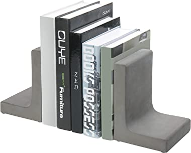 MyGift Modern L-Shaped Concrete Grey Decorative Bookends